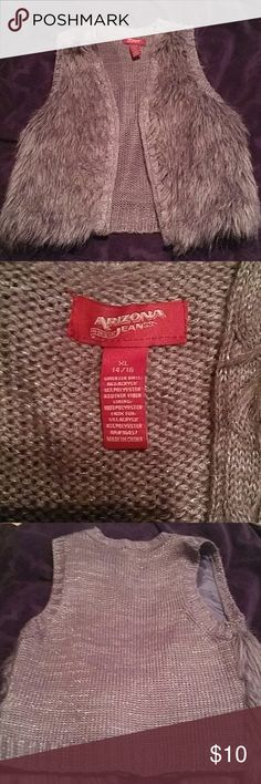 Girls vest Silver and grey faux fur vest Arizona Jean Company Jackets & Coats Vests