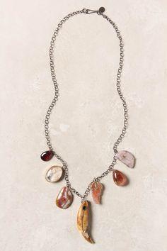 """- One of a kind - Lobster clasp - Sterling silver, 14k gold, vintage tooth, quartz, lodolite, laguna agate, garnet, sunstone - 22""""L - 0.5 - 2"""" pendant - Handmade in USA"""