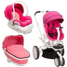 Amazon.com: Quinny Moodd Stroller Travel System, Pink Passion/White with Bassinet: Baby