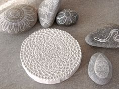 Geninne Zlatkis carved stamp and painted rocks