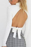 New White Irregular Backless Cut Out Bow Band Collar Long Sleeve Sweet Sweater Backless Sweater, Long Sleeve Turtleneck, Turtleneck Top, Daily Fashion, Sweaters For Women, Turtle Neck, Clothes For Women, Cheap Clothes, Collar Pattern