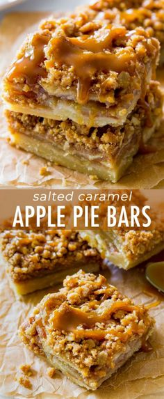 These Salted Caramel Apple Pie Bars are mind-blowing delicious! So much easier t… These Salted Caramel Apple Pie Bars are mind-blowing delicious! So much easier t…,Recipes These Salted Caramel Apple Pie Bars are mind-blowing. Thanksgiving Desserts Easy, Fall Desserts, Just Desserts, Delicious Desserts, Kids Thanksgiving, Apple Dessert Recipes, Mini Desserts, Baking Recipes, Easy Apple Desserts