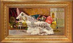 "Antonio Rivas (1845-1911) - Waiting Odalisque. Oil on Canvas. Circa 1890. 45.72cm x 88.9cm. (18"" x 35"")."