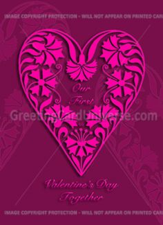 ... card: our first valentines day together, pink floral heart, Card