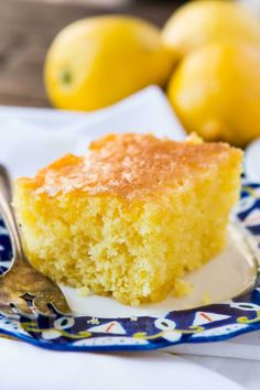 This Lemon Jello Cake is perfect for anytime of the year the fresh tastes of summer or to brighten the winter holiday meals. ohsweetbasil.com