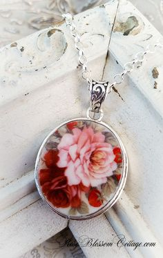 Roses and Strawberries Rounded Oval Broken China Jewelry Pendant Necklace, www.RoseBlossomCottage.com