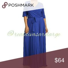 Royal blue & peach 3\4 inch sleeve maxi 30% off Royal blue or peach 3\4 inch sleeve maxi dress vneck with belt wrap dress Rayon cotton and spandex blend blue is sold out Dresses Maxi