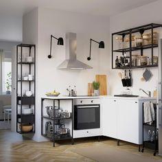 ENHET Wall storage combination - anthracite/white - IKEA Kitchen Wall Storage, Ikea Kitchen, Storage Spaces, Kitchen Decor, Kitchen Cabinets, Küchen Design, Interior Design, Studio Kitchen, White Doors