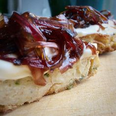 Celery scones, with sourcream and onion marmelade on top
