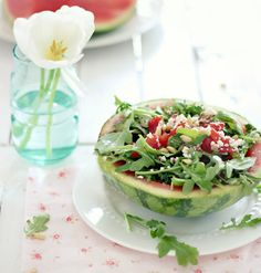 Grilled Watermelon with Balsamic Dressing.grilled watermelon cubes, arugula, feta cheese and walnuts served in a chilled, hallowed out small watermelon half. Grilled Watermelon, Grilled Fruit, Watermelon Salad, Watermelon Recipes, Grilled Romaine, Grilled Chicken, Healthy Grilling Recipes, Barbecue Recipes, Cooking Recipes
