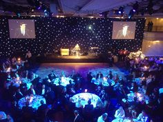 Moving Heads used to spot the tables, Starcloth Backdrop and Projector Screens