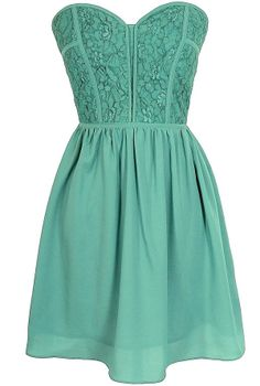 Sweetheart Strapless Dress in Sage | Lily Boutique