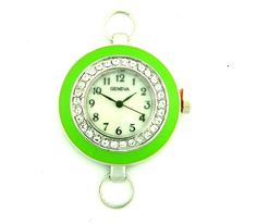 Lime Green Watch Face with Rhinestones, Beading Watch, Bracelet Watch, Watch Head by PlanetZia on Etsy