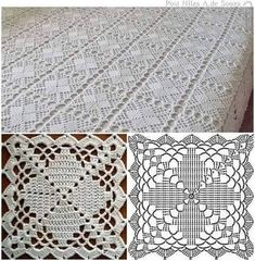 Top 4 crochet tablecloth pattern you will like crochet tablecloth pattern copriletto a mattonelle YKSNBID Very pretty granny square via This Pin was discovered by Sou I'm in love with this bedsprea Crochet Tablecloth Pattern, Crochet Bedspread Pattern, Crochet Square Patterns, Crochet Diagram, Crochet Chart, Crochet Squares, Thread Crochet, Filet Crochet, Crochet Motif