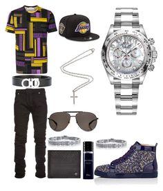 """Casual"" by pitbull8382 on Polyvore featuring Versace, Pierre Balmain, Christian Louboutin, Salvatore Ferragamo, Christian Dior, Gucci, New Era, Rolex, Marco Ta Moko and men's fashion"