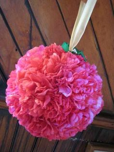 Pomander balls of hot pink carnations hanging from black and pink polka dotted ribbon will be placed on the first, middle and last rows of the ceremony site.  The flower girl will also carry a pomander ball hanging from black ribbon.