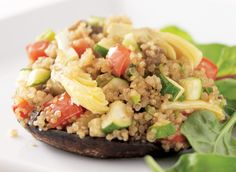Day 14 - Think healthy! Add nutrient-packed veggies and whole grains to your diet with these Quinoa-Stuffed Portabello Mushrooms.