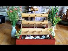 How to Make Bamboo Water Fountain 3 floor style - Modern T Craft, Craft Work, Diy Projects Cement, Bamboo Water Fountain, Diy Garden Fountains, Bamboo Crafts, Clean House, Flooring, Make It Yourself
