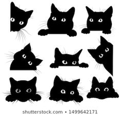 Set of black cats looking out of the corner. Collection of cat faces that spy on… Set of black cats looking out of the corner. Collection of cat faces that spy on you. Black Cat Tattoos, Kitty Tattoos, Animal Tattoos, Tattoo Cat, Black Cat Drawing, Black Cat Art, Black Cats, Black Cat Painting, Cute Cat Drawing