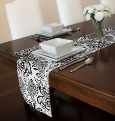 Black and White Damask Table Runner and Napkin Set - Set includes 12  x 72 & Grey and White Chevron Table Runner and Napkin Set - Set includes 12 ...
