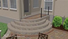 Patio Step Design for West Chester Sloping Backyard Patio Step Design pou… - Eingang Patio Steps, Outdoor Steps, Garden Steps, Concrete Stairs, Concrete Patio, Stamped Concrete, Deck Stairs, Sloped Backyard, Backyard Patio