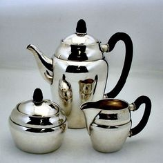 Serve your guest with style and elegance.   This vintage tea set was hand crafted from .830 silver and accented with ebony handles, all by Georg Jensen. As beautiful today as it was when it was first crafted nearly 100 years ago.  Find this and more serving pieces at jensensilver.com