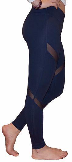 Mesh Yoga Pants/Leggings (Navy Blue)
