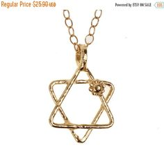 SALE 14K Gold Filled necklace with Star of David statement pendant, 14K Gold plated statement necklace with Magen David pendant