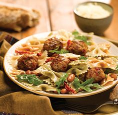 Tri-color Bow Tie Pasta with al frescoTtomato & Basil Meatballs fresco® Recipes