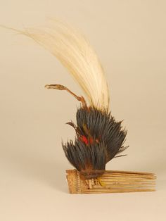 Bamboo comb with feathers; collected by Lajos Bíró in Norh-East New Guinea - Museum of Ethnography, Budapest;