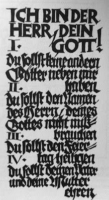 Rudolf Koch, Ten Commandments, cut in wood, 1922