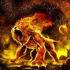 Fiery powerful Lion of Judah will fight for you! Digital prophetic art.