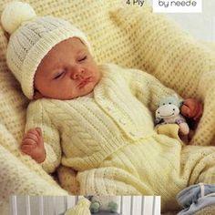 4ply Prem Baby Cable knitting Baby set 3 Premi Baby sizes | Etsy Cable Knitting Patterns, Baby Cardigan Knitting Pattern, Free Knitting, Baby Knitting, Knitted Baby, Wool Cardigan, Nursery Patterns, Baby Patterns, Vintage Patterns