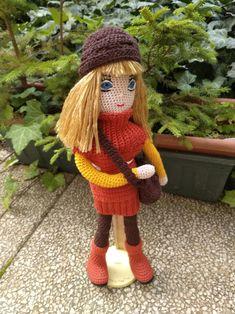 Rezavá Háčkovaná panenka 36 cm převlékací / od dana.kka   Fler.cz Crochet Hats, Knitting Hats