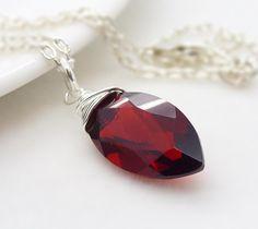 Dark red necklace sterling silver jewelry by CreativityJewellery, $45.00