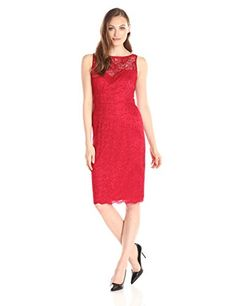 Betsey Johnson Womens Illusion Lace Sheath Dress Red 4 * You can get additional details at the image link.(This is an Amazon affiliate link and I receive a commission for the sales)