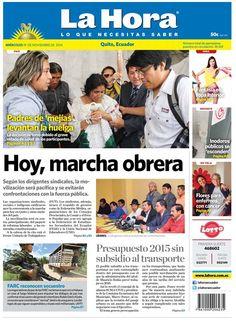 Los temas destacados son: Hoy, marcha obrera, Presupuesto 2015 sin subsidio al transporte y FARC reconocen secuestro.