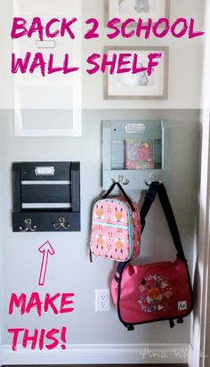 Build a simple, DIY wall shelf for your kids to hang their book bags on when they come home from school. Easy project tutorial to help keep your home organized.