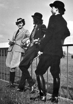 Fashionable riding suits, 1937    I wanna do a photo shoot with this style. Think it would like hella tight.