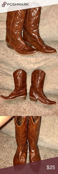 WANTED Women's Brown Cowboy Boots Excellent condition! Synthetic Leather! Wanted Shoes