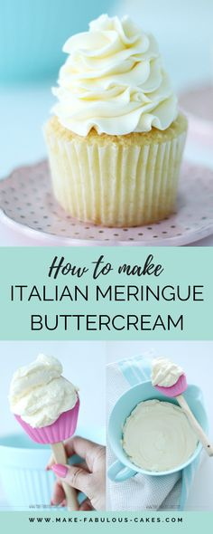 This is a great buttercream frosting,very smooth and yummy. How to make Italian meringue buttercream recipe. Cupcake Frosting Recipes, Meringue Frosting, Best Buttercream Frosting, Cake Decorating Frosting, Cake Decorating Tips, Cupcake Cakes, Best Frosting For Cupcakes, Not Too Sweet Frosting, Healthy Frosting