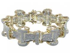 10K YELLOW GOLD WHITE DIAMOND MENS DESIGNER LINK BRACELET 9.00 INCHES LONG