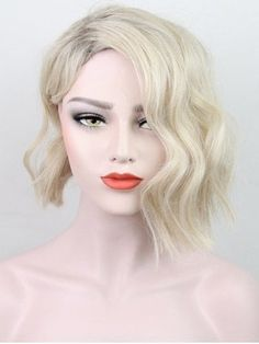 Shop for Antique White Short Side Bang Colormix Natural Wavy Synthetic Wig online at $13.46 and discover fashion at RoseGal.com Mobile