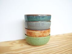 Stoneware Pottery Bowls Set of 4