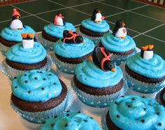 Fowl Single File: There's A Penguin In My Fridge!  -- penguin cake and cupcakes