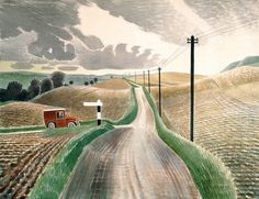 The England of Eric Ravilious We added another book to the library this week; a 2003 reprint of the 1982 publication, The England of Eric Ravilious by Freda Constable. Landscape Prints, Watercolor Landscape, Landscape Art, Landscape Paintings, Landscape Photography, Watercolor Paintings, A4 Poster, Naive Art, Countryside