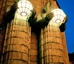 Light statues in Helsinki Main railwaystation, art nouveau