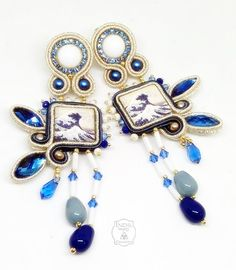 Earrings soutache whith cabochons Lapilli Gioielli di Lava. Design Indil Creazioni.