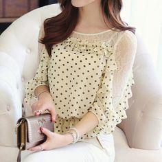 2015 nova malha meia manga feminino dot chiffon camisa personalizada senhoras de renda blusas C022