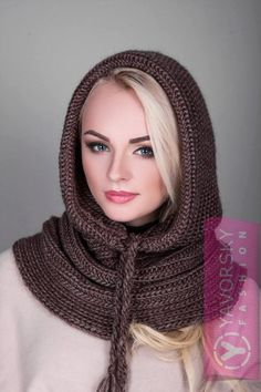 Шапка-капор 118 Материал: пряжа Easy Scarf Knitting Patterns, Crochet Scarf Easy, Diy Crochet And Knitting, Crochet Scarves, Crochet Shawl, Snood Scarf, Hooded Scarf, Mode Hijab, Knit Dress